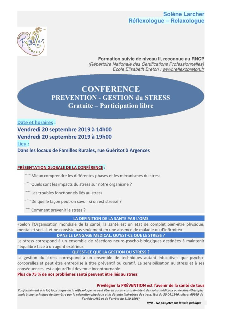 Conférence Prévention et Gestion du stress @ Salle Familles Rurales